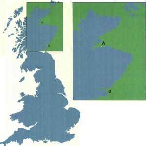 איור 1: אם נגדיל קטע ממפת בריטניה (משמאל) פי 2, יגדל אורך הקטע B-A של קו החוף ביותר מפי 2 (למעלה)